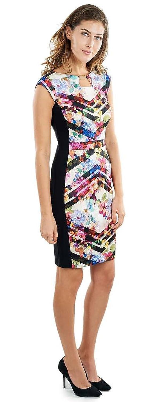 Joseph Ribkoff Multicoloured Floral & Chevron Print Shift Dress Style 172740 - Size 6 at Amazon Womens Clothing store: