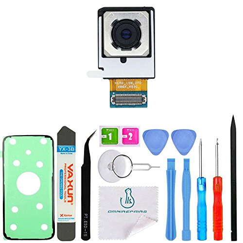 OmniRepairs Main Rear Back Camera Replacement for Samsung Galaxy S7 Edge Model (SM-G935, G935A, G935P, G935T, G935V, G935R4) with Adhesive Repair Toolkit
