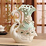 Couples creative Swan ceramic vase ornaments, European-style porch TV cabinet home furnishings home wedding gifts