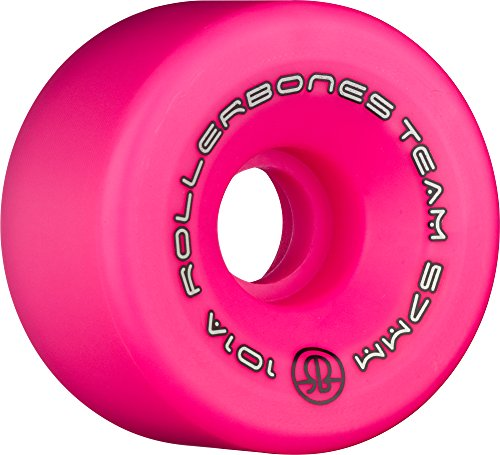 RollerBones Team Logo 101A Recreational Roller Skate Wheels (Set of 8), Pink, 57mm
