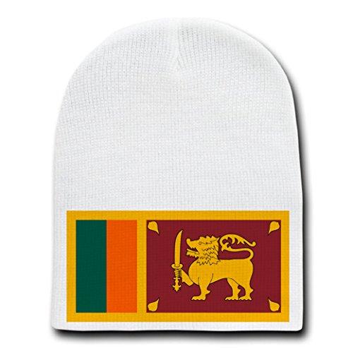 Sri Lanka Buddhist Flag (Sri Lanka - World Country National Flags - White Beanie Skull Cap Hat)