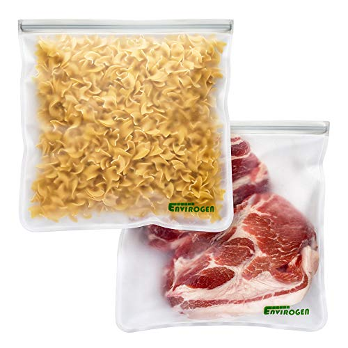 Envirogen Reusable Storage Bags (Gallon Sized 2 Pack - Leakproof) for Food | EXTRA THICK | Resealable | Freezer | Marinate Meats | Fruit | Cereal | Travel Items | Meal Prep | Home Organization