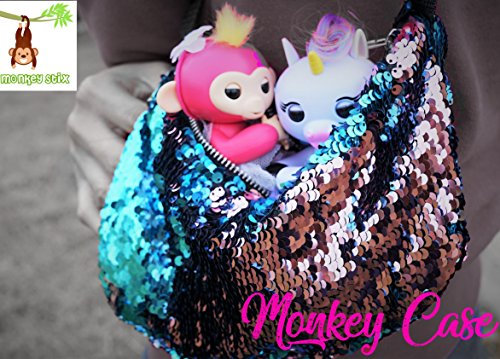 Monkey PAK - Finger Monkey Compatible Carrying CASE - Sequin Pink and Blue - Cotton Candy Glam - Fits All Kinds of Toys - Interactive Baby Finger Monkey Compatible Shoulder Accessory Accessories Bag