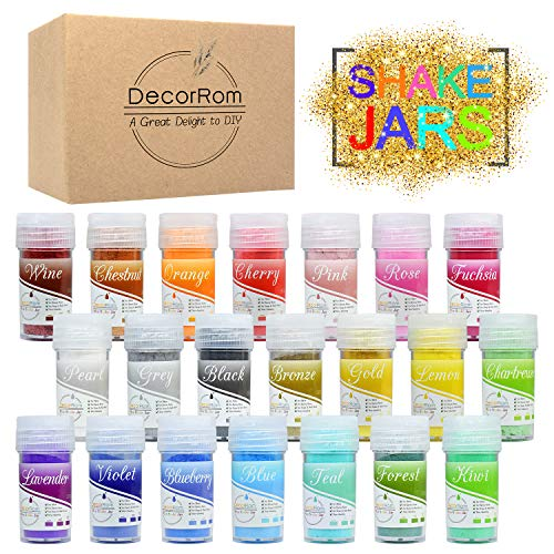 Mica Powder 21 Color Shake Jars - Slime Coloring Pigment Powder - Cosmetic Grade Epoxy Resin Color Pigment - Natural Soap Dye Colorant for Soap Making, Paint, Art, Nail Art, Bath Bombs, Slime Supplies