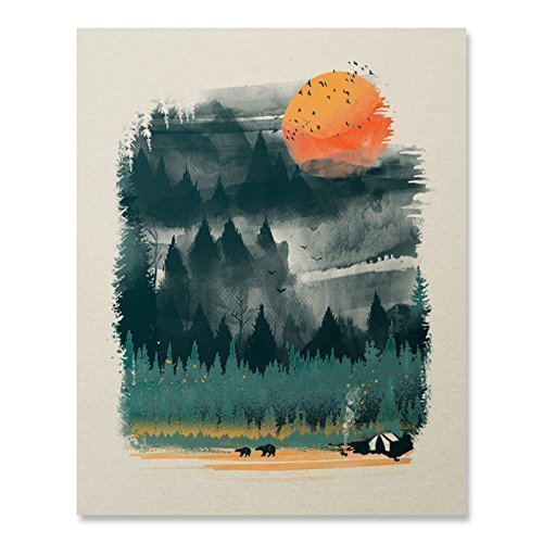 Nature Art Print Poster - Wilderness Nature Art Print Camping Lover Print Outdoor Inspiration Poster Wildlife Mountain Pine Tree Landscape Wall Art Bear Print Hiking Forest National Park Decor 8 x 10 Unframed Artwork