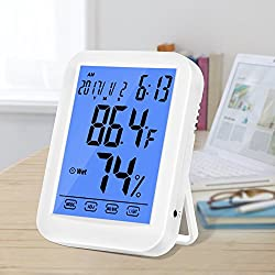 Hygrometer Thermometer, Multifunctional Temperature Humidity Meter, Indoor Humidity Gauge with Alarm Clock, Jumbo Touchscreen with Blue Backlight, (Not Include Battery)