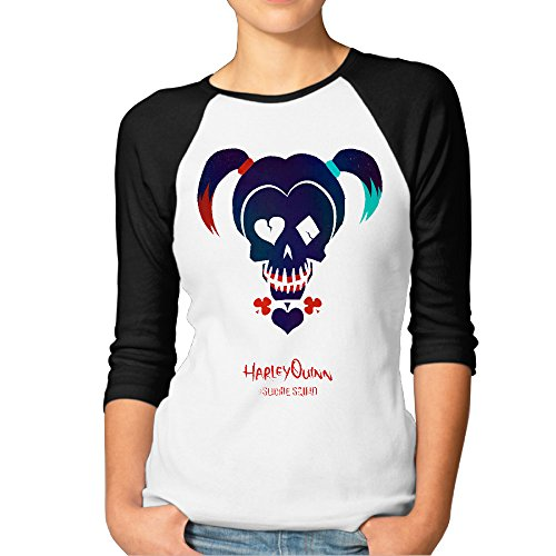 3/4 Sleeve Female Casual Tees With Suicide Squad Harley Quinn (Kids Harley Quinn Mallet)