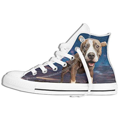 Classiche Sneakers Alte Scarpe Di Tela Anti-scivolo Pitbull Dog Casual Da Passeggio Per Uomo Donna Bianco