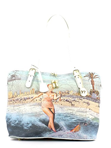 Y Not - Shopping bag con tracolle regolabili, Y Not Summerland California - Bianco - D377.SUMMERLAND.CALIFORNIA - Bia - UNICA