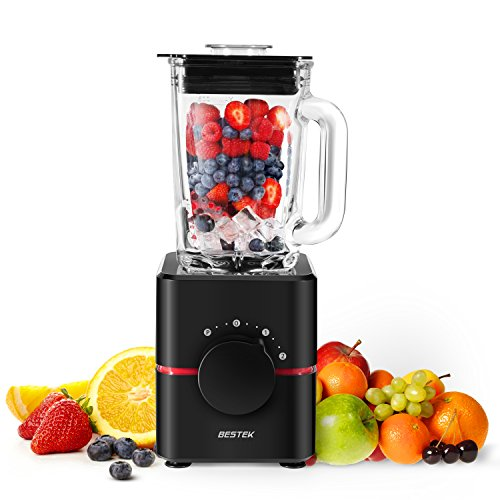 Blender with Glass Jar by BESTEK- UL Certified, BPA Free 550 Watts Smoothie Blender, 2-Speed Function, Professional Food Processor, Mixer,Multi-functional, 1.5L,Black