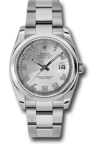 Rolex Oyster Perpetual Datejust 36mm Stainless Steel Case, Domed Bezel, Silver Concentric Circle Dial, Arabic Numeral And Oyster Bracelet.