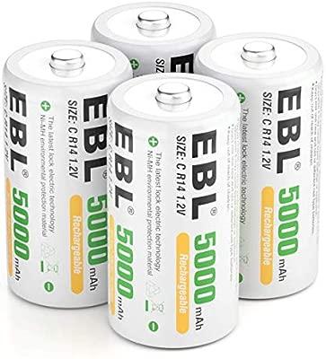 EBL 5000mAh de Ni-MH Recargables Pilas C para los Equipos Domésticos con Estuches de Almacenamiento (4 Unidades)