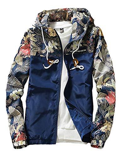 (ZOXO Men's Windbreaker Jacket, Floral Bomber Jacket Hooded Lightweight Zip-up Drawstring Flower Coat Navy Blue Large)