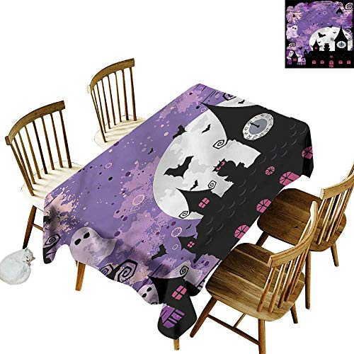 Rectangular Tablecloth Vintage Halloween Towers and Bats Table Cover for Kitchen Dinning Tabletop Decoratio 60
