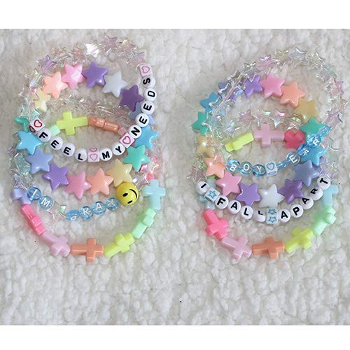 Kawaii Pastel Beaded Letter Text Bracelet Stack(Set of 9) /Cute jewelry/rave/festival - Stack Resin