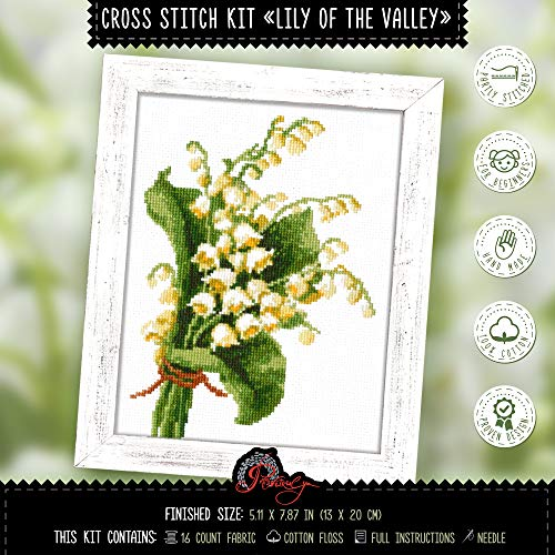 (Lily of The Valley Embroidery Kit | May-Lily Flower Bouquet Needlepoint Set | DIY Nativity, Baptism, Baby Shower Gift)