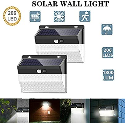 FUPOJW 206 LED/3 Modes Solar Motion Sensor Lights, Wireless Outdoor Solar Lights with 270° Wide Angle IP65 Waterproof Solar Motion Light for Front Door, Yard, Garage, Fence (3600LM 2 Pack): Amazon.es: Iluminación