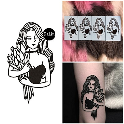 DaLin 4 Sheets Sexy Floral Temporary Tattoos for Women Flowers Collection (Sexy Rose Lady)