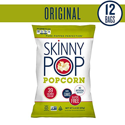 SKINNYPOP Original Popped Popcorn, Individual Bags, Gluten Free Popcorn, Non-GMO, No Artificial Ingredients, A Delicious Source of Fiber, 4.4 Ounce (Pack of 12)