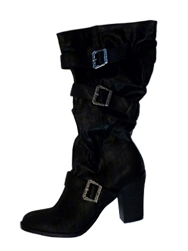 Amazon.com | Xhilaration Womens Sexy Black Biker Chic Boots with ...
