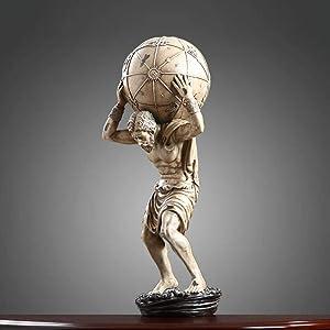 Statues Statue Home Decoration Accessories Ancient 60Cm Greek Myth Atlas Hercules Statue Retro Craft Sculpture Decor for Living Room Ornaments