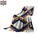 zig shark - Psychedelic Throw Blanket Geometric Composition with Colorful Zigzag Chevron Lines Squares Digital Grid Print Artwork Image 50