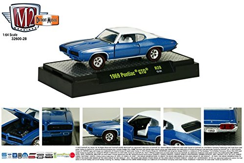 Machines Cars Muscle (1969 PONTIAC GTO JUDGE Detroit Muscle Release 28 M2 Machines 2014 Castline Premium Edition 1:64 Scale Die-Cast Vehicle & Display Case Set ( R28 15-01 ))