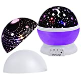 MOKOQI Baby Night Light Lamps For Bedroom Romantic 360 Degree Rotating Star with Sky Moon Cover & Solar System Cover Projector Lights Color Changing LED For Kids Girls Baby Nursery Gift(Purple-2 Lids)