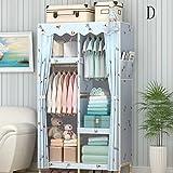 HYLRUS Simple Oxford cloth solid wood wardrobe Cloth wardrobe Assembly wardrobe Clothing storage