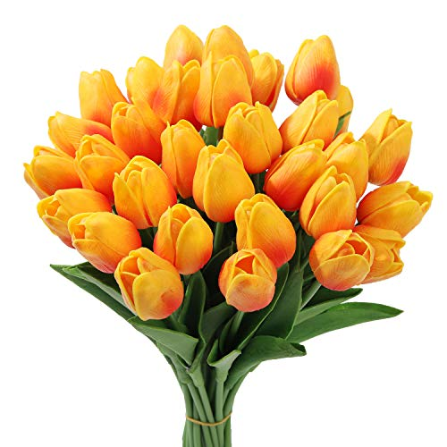 20Pcs Artificial Flowers Real Touch Tulips in White Wedding Bouquets Flowers Fake Tulips PU Plants Flowers Arrangement Bouquet Home Room DIY Centerpiece Party Wedding Decor ()