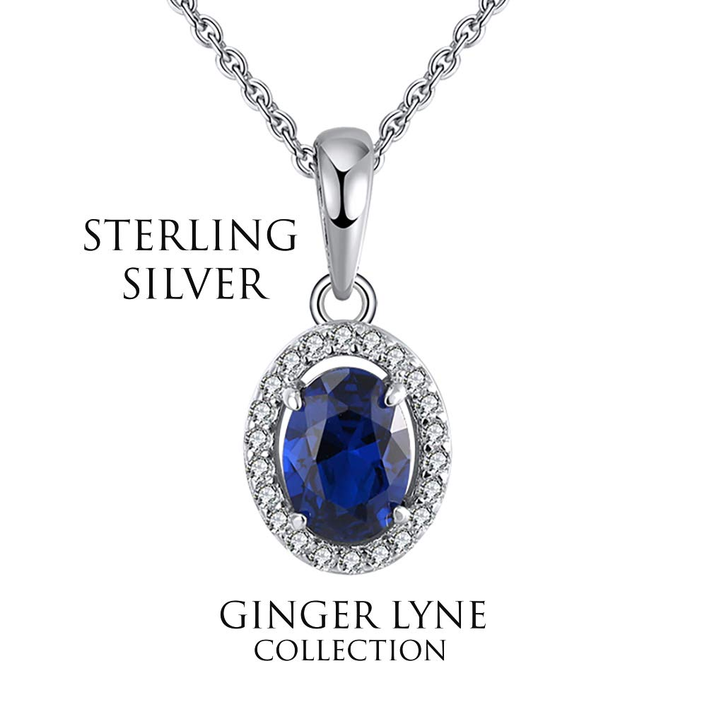 Ginger Lyne Collection Oval Blue Clear CZ Round Sterling Silver Chain Pendant Necklace