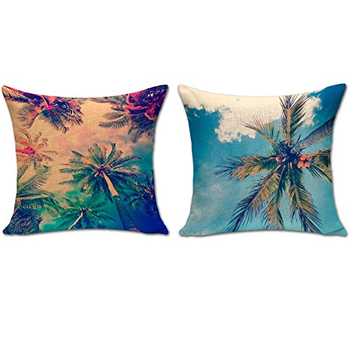 BQ 2Pcs Cushion Cover Sunset of the Beach Hawaii Coconut Tree Pattern Pillow Cover Decorative Pillow Case 18 x 18 Inches Cotton Linen Blend Square Throw Pillow Cover Cushion for Couch Car Home by BQYGO