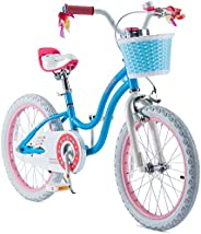 RoyalBaby Girls Kids Bike Stargirl 12 14 16 18 Inch Bicycle for 2-9 Years Old Child's Cycle with Basket Training Wheels or K