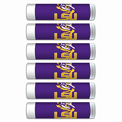 NCAA LSU Tigers Premium Lip Balm 6-Pack Featuring SPF 15, Beeswax, Coconut Oil, Aloe Vera, Vitamin E. NCAA Gifts for Men and Women, Mother