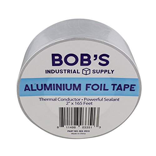 """Bob's 2"""" inch Aluminum Foil Tape – Pipe Wrap Insulation Heat Resisting Thermal Tape Silver Heat Reflective Duct Tape by Bob's Industrial Supply"""