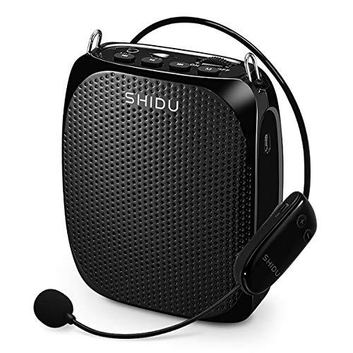Stemversterker, SHIDU Wireless Voice Amplifier 10W oplaadbare draagbare PA-systeemluidspreker met UHF draadloze…