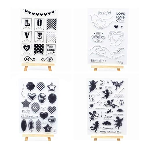 Welcome to Joyful Home 4pcs/Set Love Happy Valentine's Day Rubber Clear Stamp for Card Making Decoration and Scrapbooking ()
