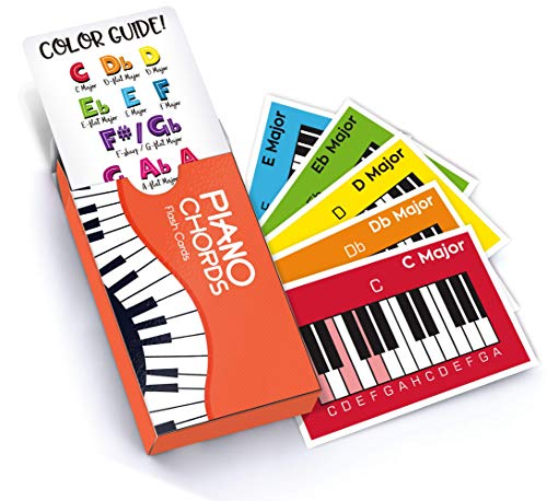 Chords Flash Cards, a Great Gift for Music Lovers and Beginner Musicians! All The Major Chords and Notes for Keyboard! ()