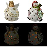 Set of 2 Home Reflections Flameless Luminaries with Gift Boxes ~ Angel/Snowman