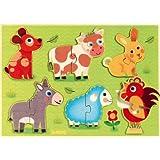 Djeco - Puzzle relief en bois - Coucou prairie
