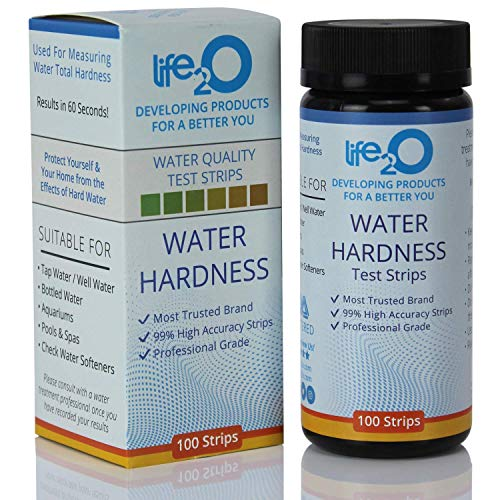 Water Total Hardness Test Strips 100ct | 99% Accuracy Hard Water Testing Kit with 0-25 GPG Optimized Range | Calcium & Magnesium Tester for Water Softener, Aquarium, Pool, Spa, Drinking & Well Water ()