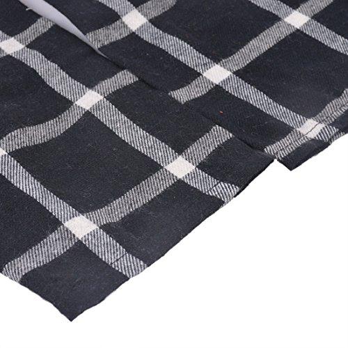 Chemise Robe Noir Shirt 3 laamei 1pc Carreaux Chemisier Casual 4 Femme Tunique Printemps Robe Automne Manches vPnv740