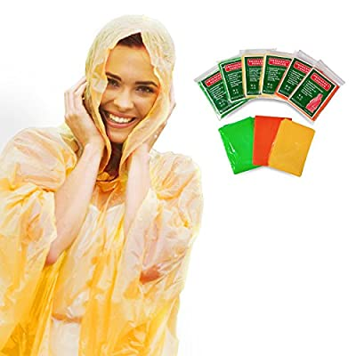 Always Prepared Lightweight Rain Poncho with Hood (6 Ponchos) Waterproof Gear for Family, Travel, Camping, Hiking, Fishing, and Outdoors - Emergency Survival Cover Shelter