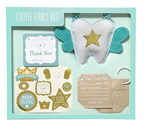 C.R. Gibson Child Keepsake Tooth Fairy Kit with Stickers, 65 pcs
