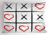 Ambesonne Xo Pillow Sham, Simplistic Love Game and Happy Valentines Cute Humor Hobby Symbols Design, Decorative Standard Queen Size Printed Pillowcase, 30 X 20 inches, Pale Grey Vermilion Black