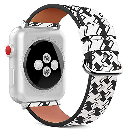 Compatible with Apple Watch - 38mm Leather Wristband Bracelet with Stainless Steel Clasp and Adapters - Black White Houndstooth