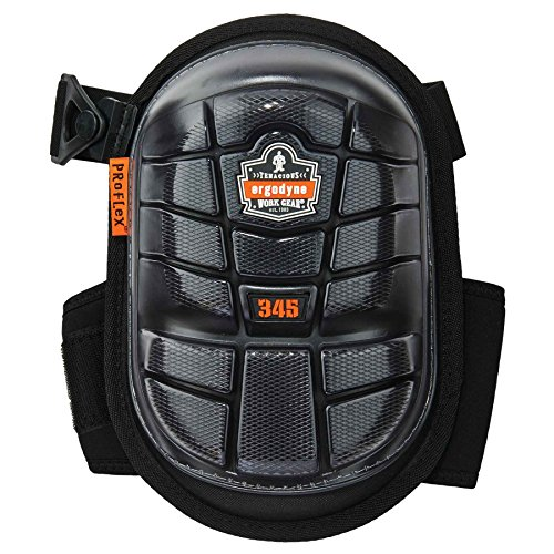 Knee Pads Gel Proflex (Ergodyne ProFlex 345 Professional Knee Pads, Protective Long Cap, Injected Gel Padded Technology, Adjustable Straps, Black)