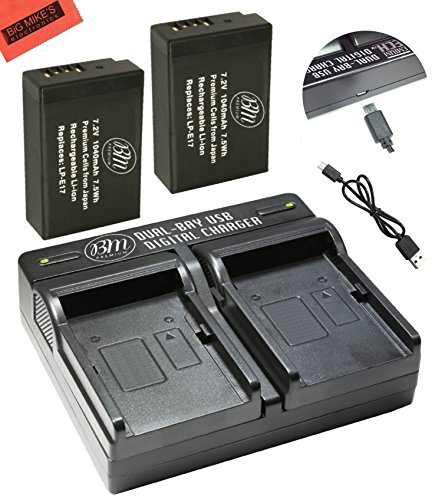BM Premium 2-Pack of LP-E17 Batteries and Battery Charger for Canon Rebel SL2, EOS M3, EOS Rebel T6i, Rebel T6s, EOS 750D, EOS 760D, EOS 8000D, KISS X8i Digital SLR Camera