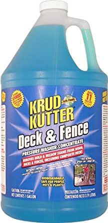 Krud Kutter DF01 Blue Pressure Washer Concentrate Deck and Fence Cleaner with Sweet Odor, 1 Gallon