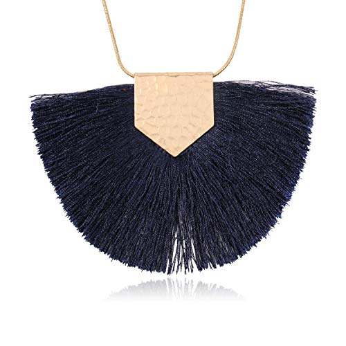 RIAH FASHION Antique Bohemian Silky Thread Fan Tassel Statement Necklace - Vintage Gold Feather Shape Strand Fringe Lightweight Long Chain (Necklace Half Moon Tassel - -